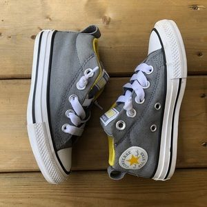 Kids Converse Mid Top Madison Sneakers Runners Running Shoes Yellow Grey